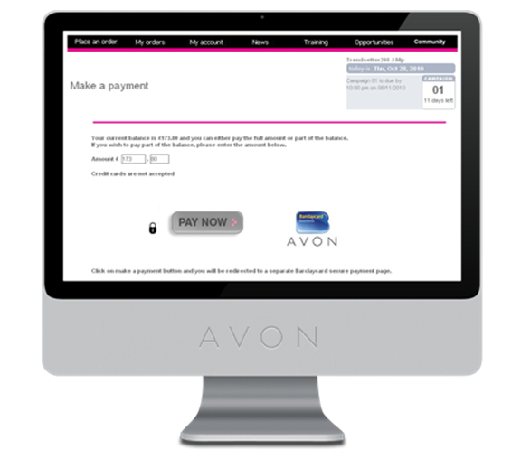 how to pay Avon pay online