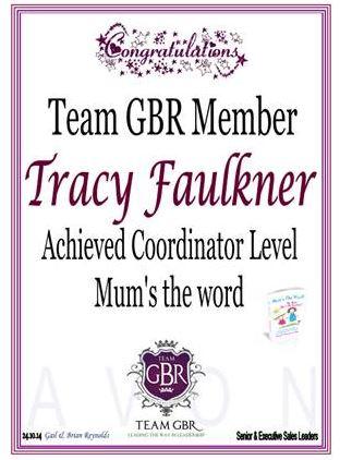 Tracy Faulkners Avon Campaign 16 incentive achievement