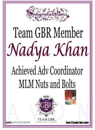 Nadya Khan Avon Campaign 16 incentive achievements