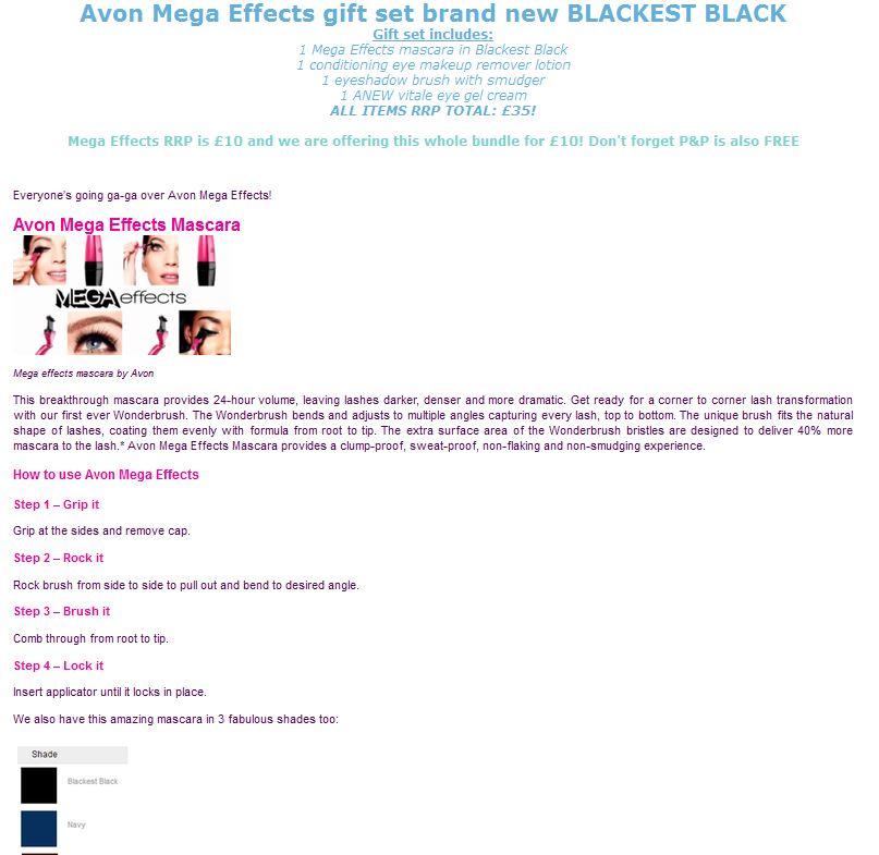 Avon Mega Effects eBay listing