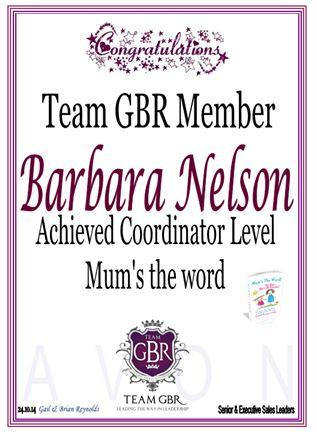 Barbara Nelson's Avon Campaign 16 incentive achievement