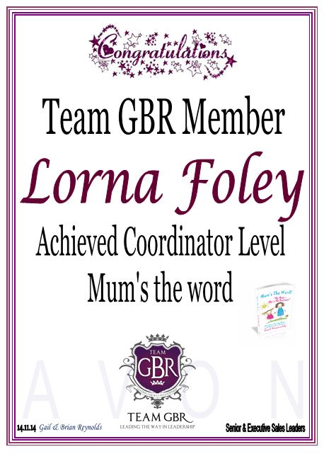 Avon Campaign 17 Incentive achievers Lorna Foley