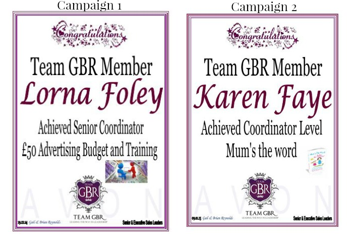 Avon campaign 1 and 2 incentive achievers