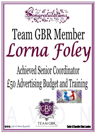 Avon campaign 1 and 2 incentive achievers - Lorna Foley Senior Coordinator