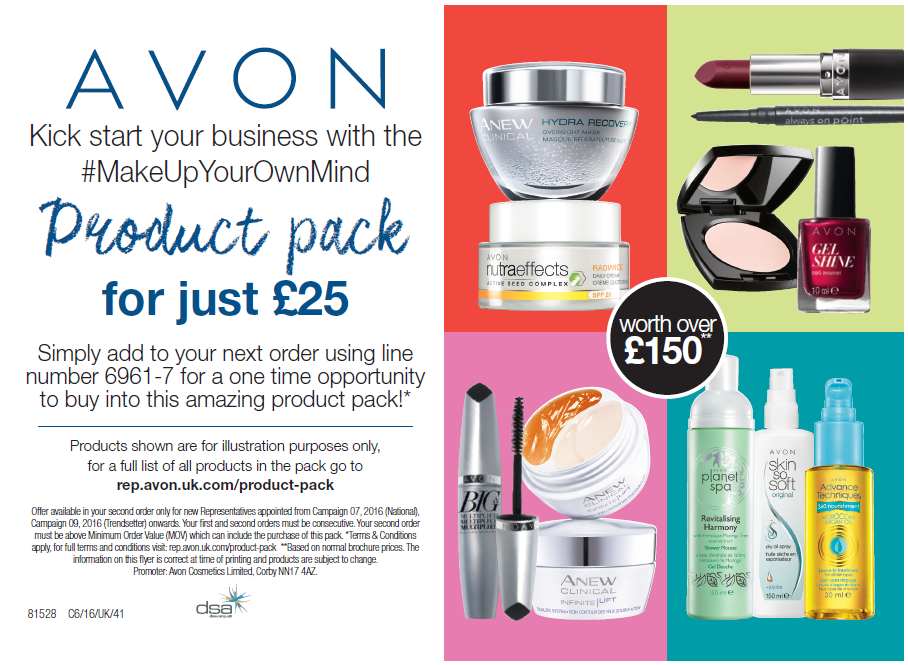 Kick start your Avon business with Make Up Your Own Mind Product Pack