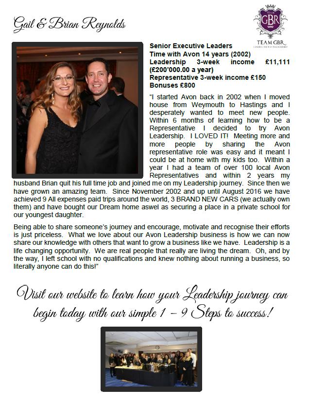 Avon SL promotional leaflet back page